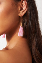 Orla Pink & Gold Tassel Earrings