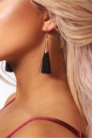 Orla Black & Gold Tassel Earrings