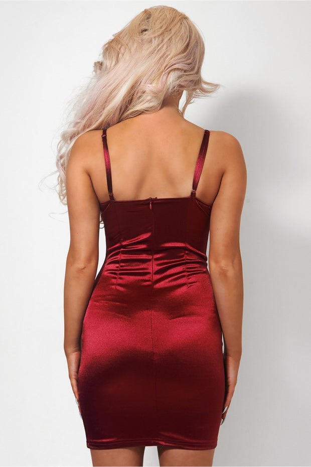 Cici Burgundy Satin Bodycon Dress