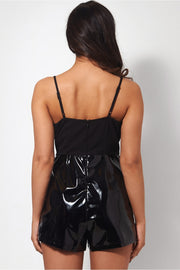 Kiri Black PU Playsuit