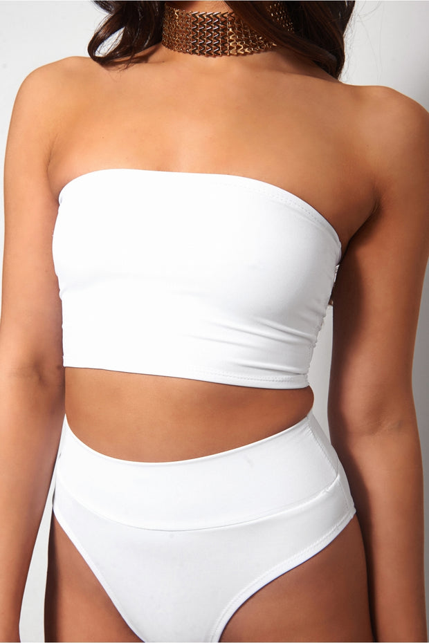 Lilly White High Waisted Bandeau Bikini