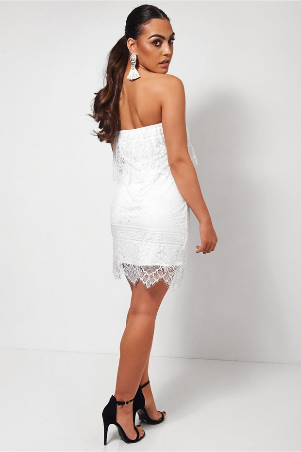 White Strapless Lace Dress