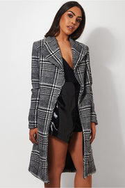 Black & White Check Print Coat