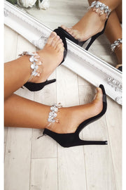 Barlo Black Jewelled Clear Strap Heels