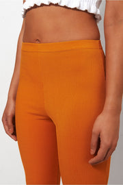 Skinny Rib Mustard Flared Trousers
