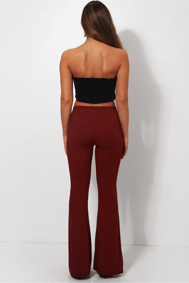 Skinny Rib Burgundy Flared Trousers