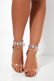 Barlo Rose Gold Jewelled Clear Strap Heels