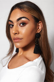 Zara Black Tassel Earrings