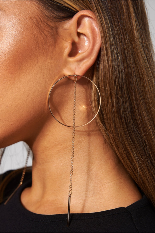 Gold Long Chain Circle Drop Earrings