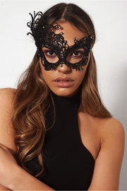 Halloween Black Lace Jewelled Eye Mask