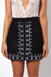 Lilly Black Embroidered Suede Skirt
