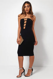 Black Caged Bodycon Midi Dress
