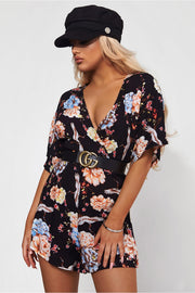 Cara Black Floral Playsuit