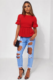 Lilly Red Frill Top