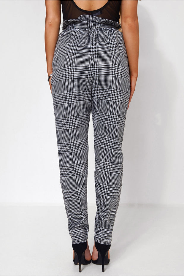 Houndstooth Print Tie Waist Trousers
