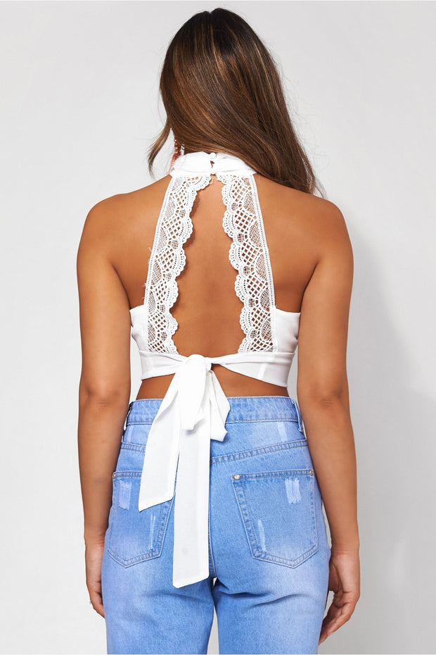 Freya White Backless Top