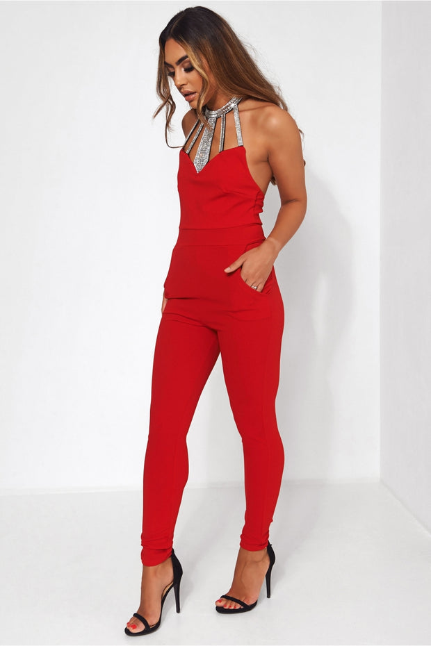Bloom Red Embellished Backless Jumpsuit
