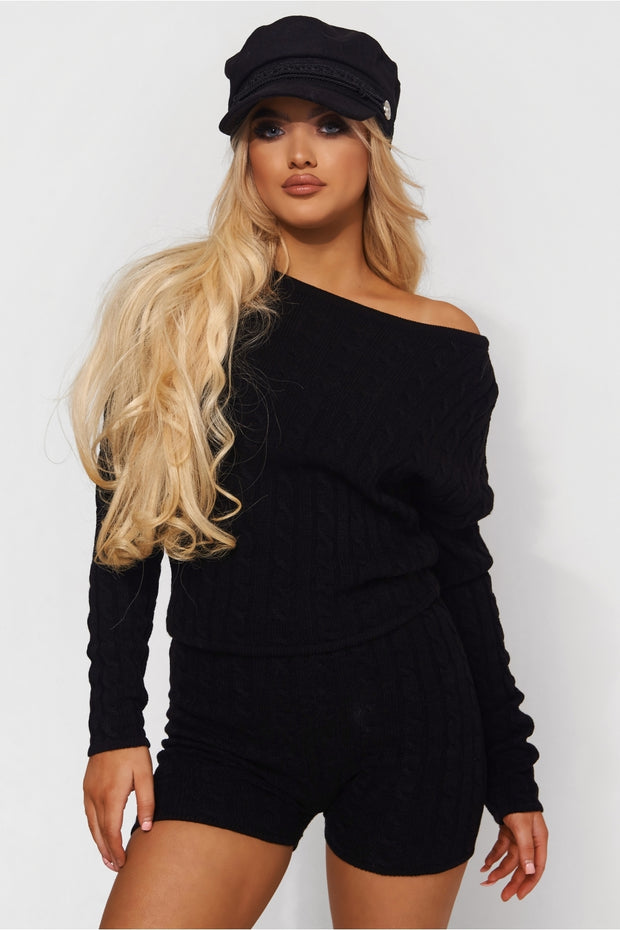 Dana Black Knitted Lounge Set