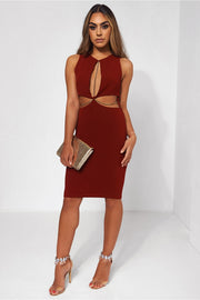 Lola Wine Gold Chain Shift Dress