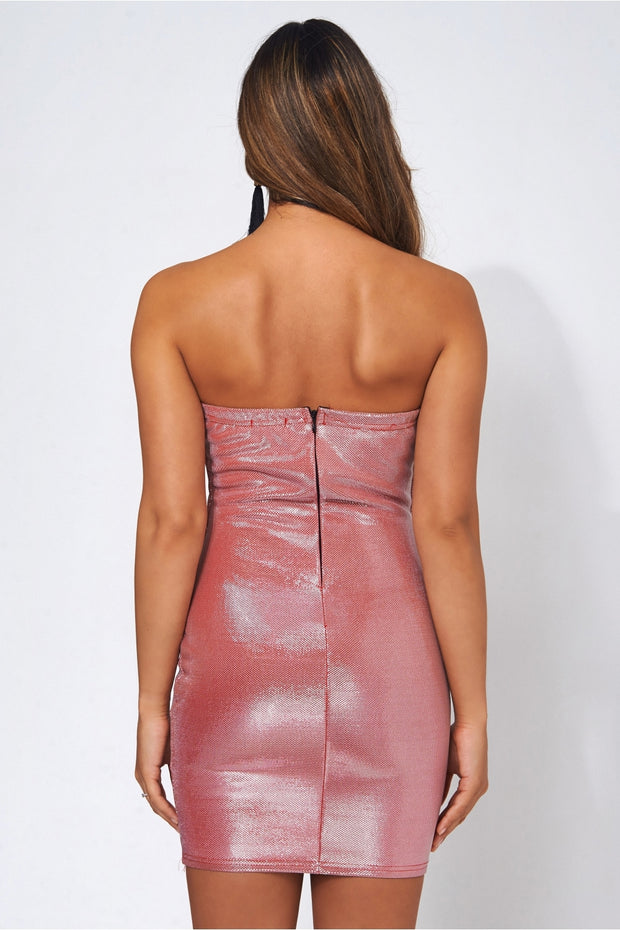 Pink Glitter Strapless Bodycon Dress