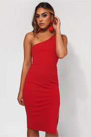 Grace Red One Shoulder Midi Dress
