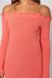 Coral Knitted Bardot Frill Mini Dress