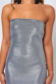 Silver Glitter Strapless Bodycon Dress