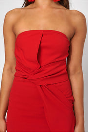 Darcy Red Strapless Bow Dress