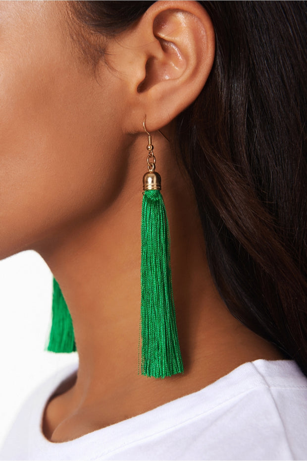 Isa Green Tassel Earrings