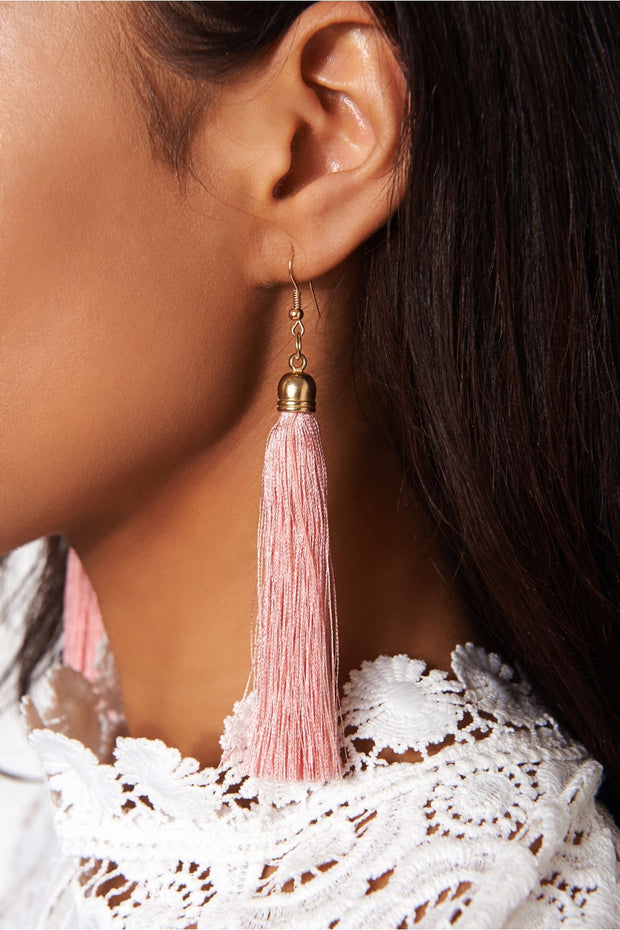 Isa Nude Tassel Earrings