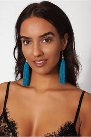 Isa Teal Blue Tassel Earrings