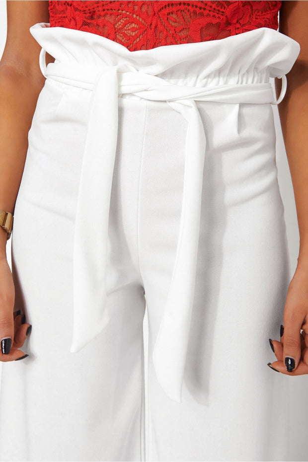Zia White Wide Leg Trousers