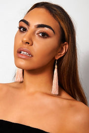 Nico Peach Tassel Earrings