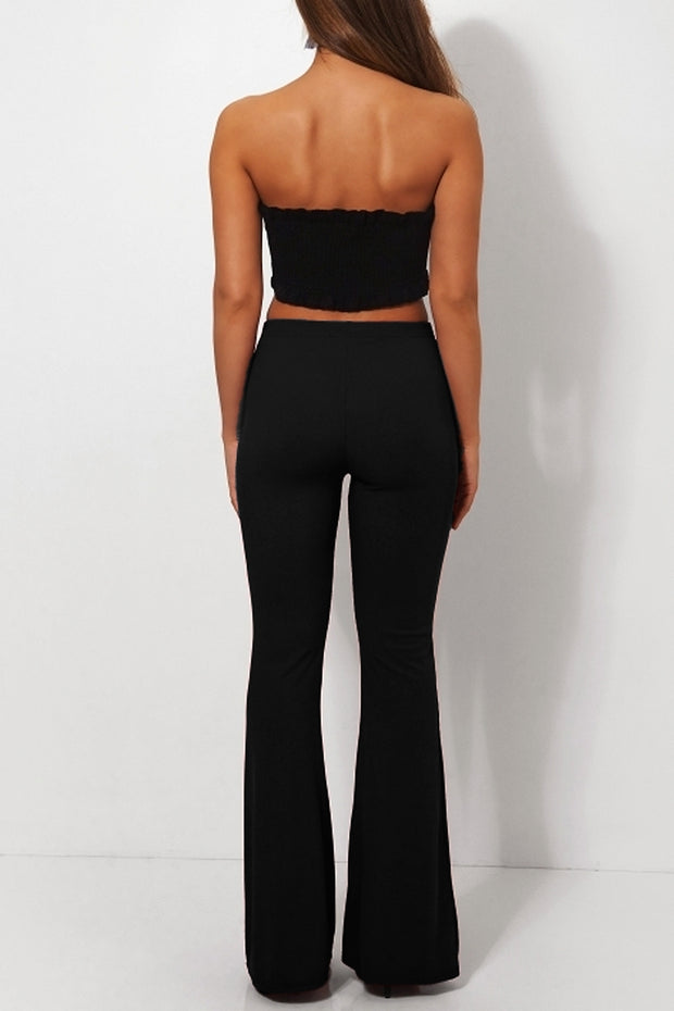 Skinny Rib Black Flared Trousers
