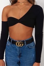 Missi Black Long Sleeve Crop Top