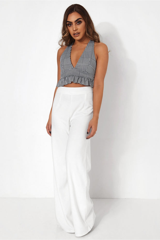Houndstooth Frill Crop Top