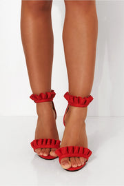 Red Suede Frill Heels