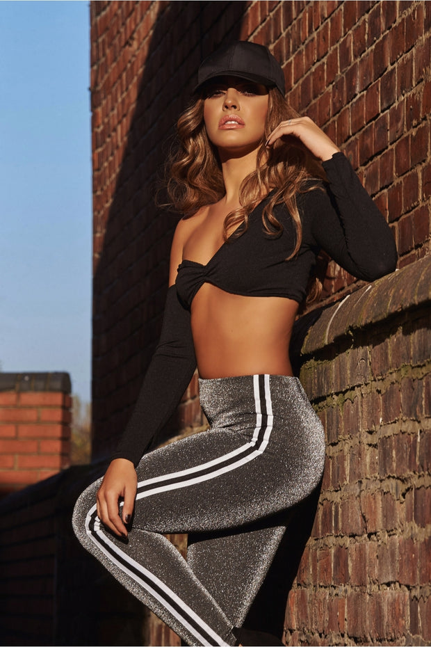 Silver Metallic Lurex Stripe Leggings