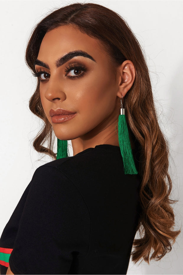 Nico Green Tassel Earrings