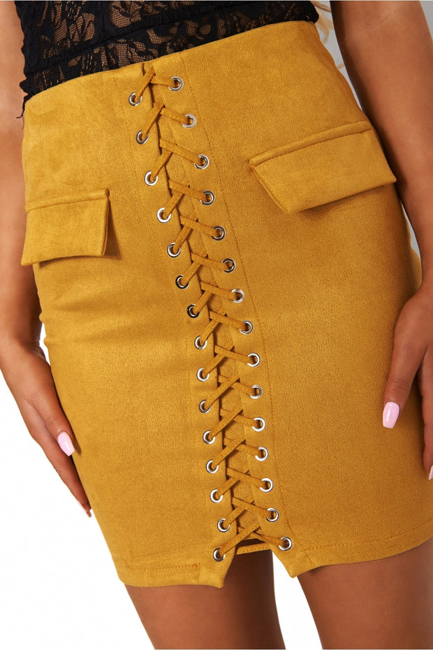 Mustard Lace Up Skirt