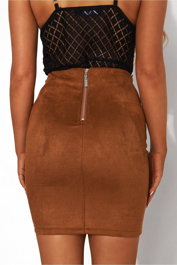 Brown Lace Up Skirt