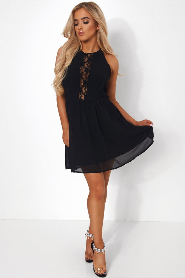 Black Backless Skater Dress