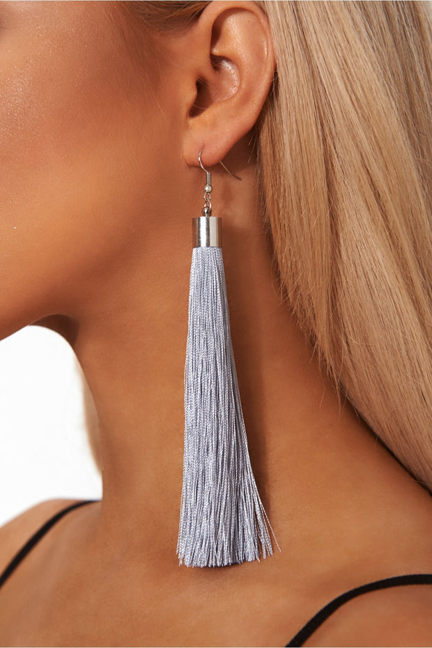 Nico Grey Tassel Earrings