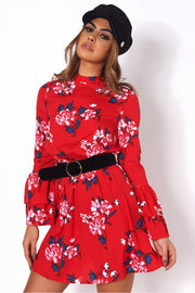 Dayna Red Floral Shift Dress