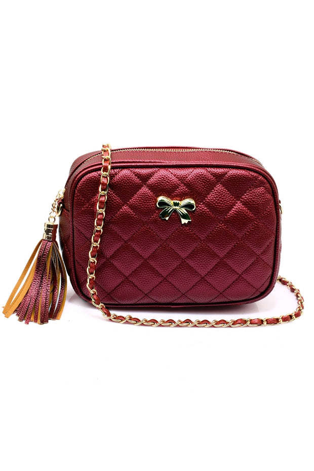 Burgundy Quilted Cross Body Bow Bag