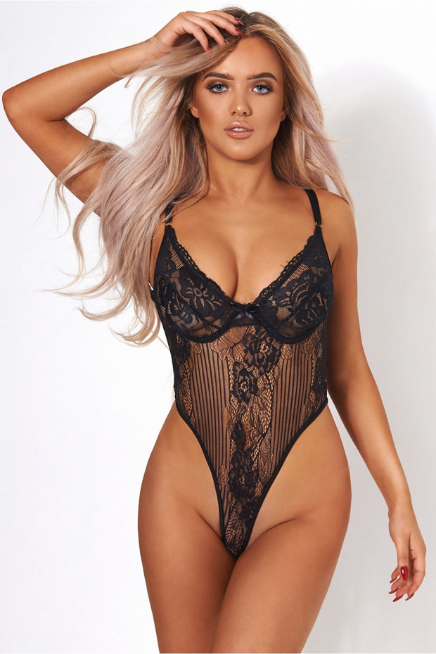 Lola High Rise Black Lace Bodysuit
