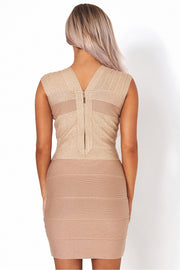 Dalia Premium Gold Sparkle Bandage Dress