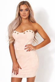 Dolce Beige Suede Bodycon Dress