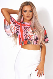 Pink Scarf Print Crop Top
