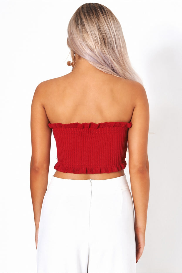 Red Strapless Bandeau Top